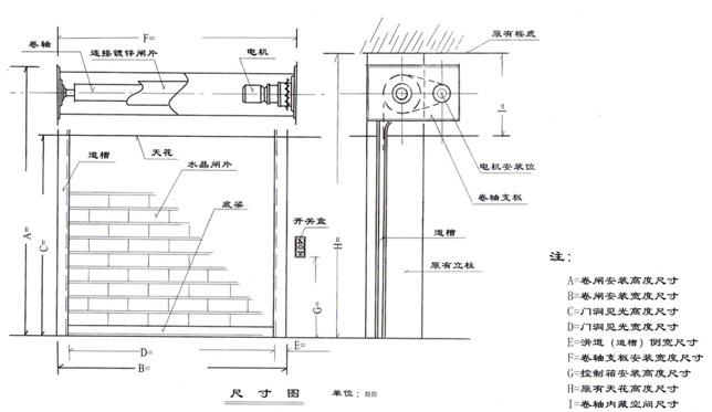 产品名称:广州电动卷闸门--外置电机安装示意图